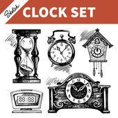 Hand drawn sketch set of clocks and watches 	 — Stock Vector