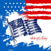 4th of July background with American flag. — Stock Vector