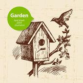 Vintage sketch garden background. — Stock Vector
