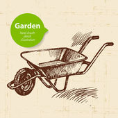 Vintage sketch garden background. — Cтоковый вектор