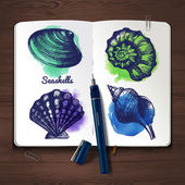 Sketchbook paper with seashells — Vector de stock