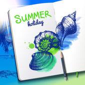 Sketchbook with seashells — Vector de stock