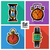 Set of sketch hand drawn clocks. — Stock vektor