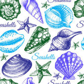 Seashell seamless pattern. — Stock Vector