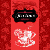 Tea vintage background. — Stock Vector