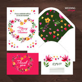 Wedding set with  floral illustration. — Stock Vector