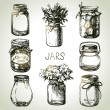 Rustic, mason and canning jars hand drawn set. — Stock Vector #50446325