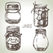 Rustic, mason and canning jars  set. — Stock Vector
