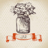 Rustic jar with chamomile bouquet. — Stock Vector