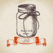 Rustic, mason and canning jar. — ストックベクタ