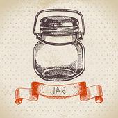 Rustic, mason and canning jar. — Stock Vector