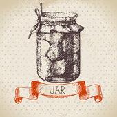Rustik konserve kavanoz domates ile. — Stok Vektör