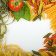 Overhead Italian pasta background - Stock Photo