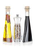 Olive oil, pepper shaker and vinegar — Stock Photo