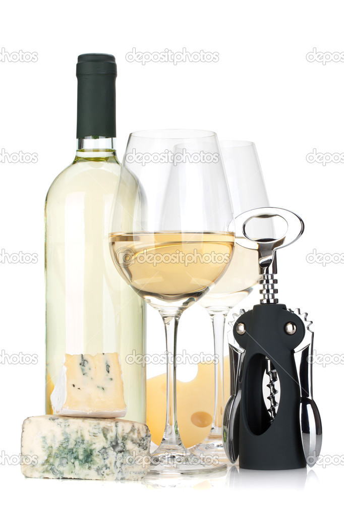 White wine bottle, two glasses, cheese and corkscrew. Isolated on white background — Stock Photo #12720474