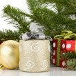 Christmas decor with fir tree - Stock Photo