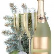 Stock Photo: Champagne glasses, bottle, baubles and fir tree