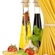 Stock Photo: Pasta, tomatoes, basil, olive oil, vinegar, garlic and parmesan