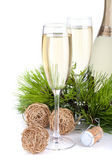 Champagne glasses and christmas decor — Stock Photo