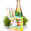 Champagne and christmas gift — Foto de Stock