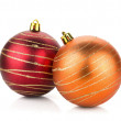 Two christmas baubles — 图库照片
