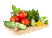 Ripe vegetables and herbs — Stock Photo