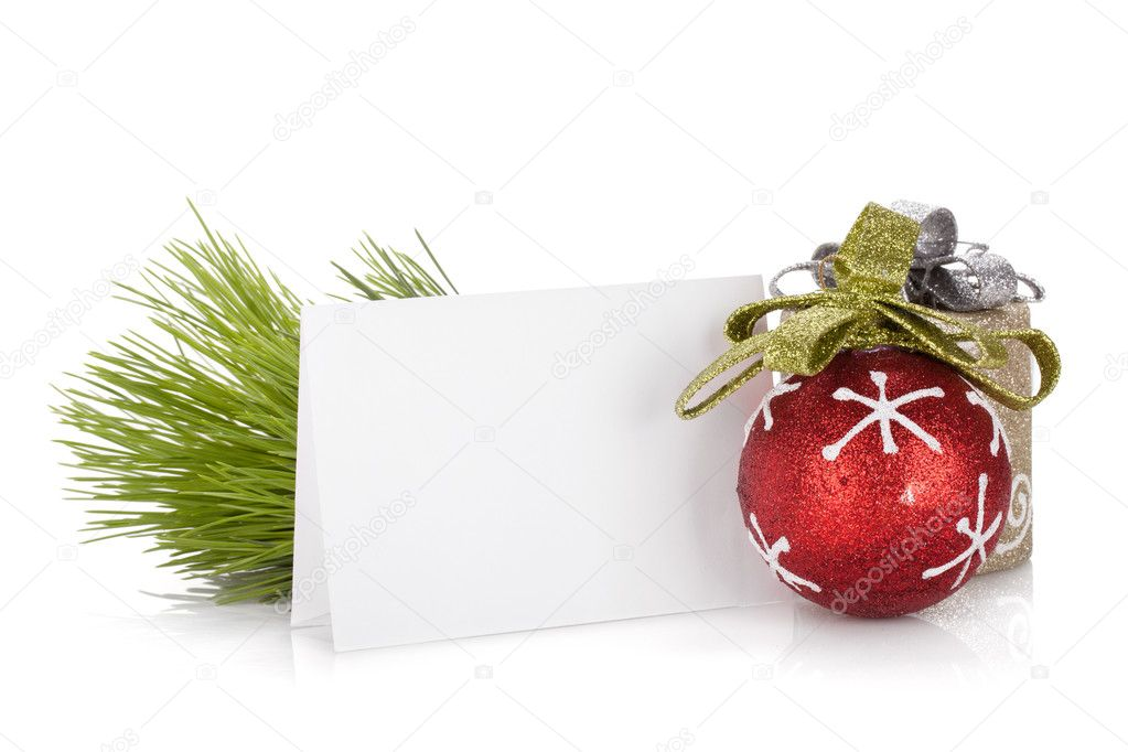 Empty christmas gift card and balls. Isolated on white background — Stock Photo #13635698