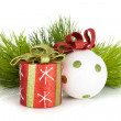 Christmas decor and firtree — Stockfoto