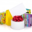 Colored gift bags, box and greeting card — Stock Photo #14167367