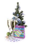 Décor de verres, firtree et noël champagne — Photo