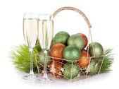 Champagne, firtree y navidad decoración — Foto de Stock