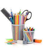 Various colour pencils and office tools — Stock Photo