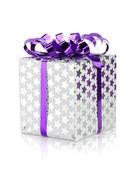 Christmas gift box with ribbon — Stock Photo