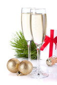 Champagne, gift letter and christmas decor — Stock Photo
