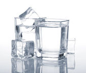 Vodka shots with ice cubes — 图库照片