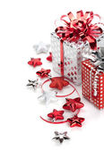 Christmas gift boxes and decor — Stock Photo
