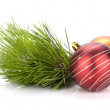 Christmas baubles and fir tree — Stock Photo