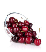 Ripe cherries in a glass bowl — Stock Photo