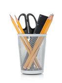 Lápices, regla y tijeras — Foto de Stock