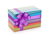 Colorful gift box with ribbon and bow — Stock Photo