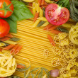 Various Italian pasta background - Stock Photo