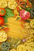 Various Italian pasta background — Stock Photo
