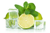 Fresh lime, mint and ice cubes — Stock Photo