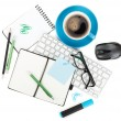koffie en office supplies — Stockfoto