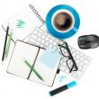 kaffe och office levererar — Stockfoto