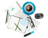 Koffie en office supplies — Stockfoto
