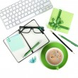 Coffee cup, office supplies and gift box — Stok fotoğraf