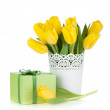 Yellow tulips and gift box — Stock Photo #18969793