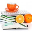 Orange fruits, coffee cup and office supplies — Stockfoto