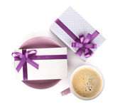 Violet coffee cup, gift box and love letter — Stock Photo